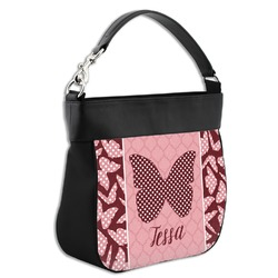 Polka Dot Butterfly Hobo Purse w/ Genuine Leather Trim (Personalized)