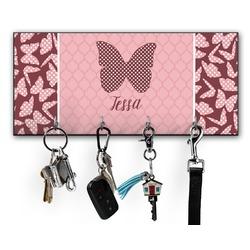Polka Dot Butterfly Key Hanger w/ 4 Hooks (Personalized)