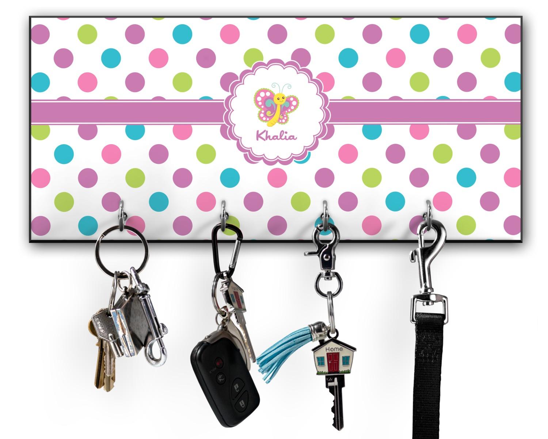 Polka dot butterfly key hanger w hooks personalized