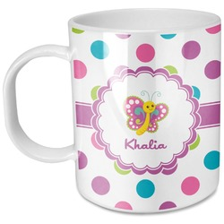 Polka Dot Butterfly Plastic Kids Mug (Personalized)