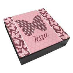 Polka Dot Butterfly Leatherette Keepsake Box - 3 Sizes (Personalized)