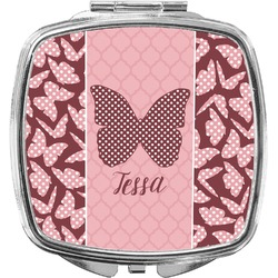 Polka Dot Butterfly Compact Makeup Mirror (Personalized)