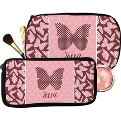 Polka Dot Butterfly Makeup / Cosmetic Bag (Personalized)