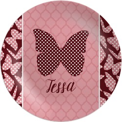 "Polka Dot Butterfly Melamine Plate - 10"" (Personalized)"