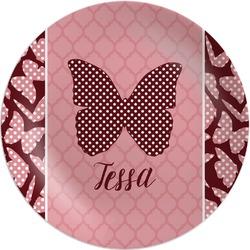 "Polka Dot Butterfly Melamine Plate - 10"" (Personalized)"