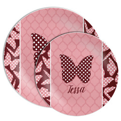 Polka Dot Butterfly Melamine Plate (Personalized)
