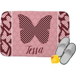Polka Dot Butterfly Memory Foam Bath Mat (Personalized)