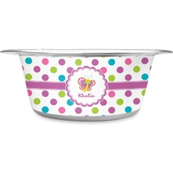Polka Dot Butterfly Stainless Steel Pet Bowl (Personalized)