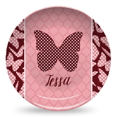 Polka Dot Butterfly Microwave Safe Plastic Plate - Composite Polymer (Personalized)
