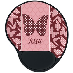 Polka Dot Butterfly Mouse Pad with Wrist Support
