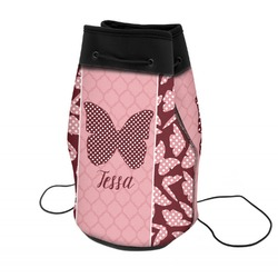 Polka Dot Butterfly Neoprene Drawstring Backpack (Personalized)