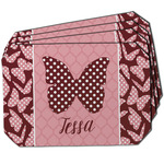 Polka Dot Butterfly Dining Table Mat - Octagon w/ Name or Text