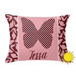 Polka Dot Butterfly Outdoor Throw Pillow (Rectangular) (Personalized)