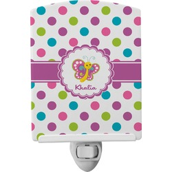 Polka Dot Butterfly Ceramic Night Light (Personalized)