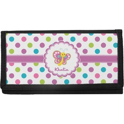 Polka Dot Butterfly Canvas Checkbook Cover (Personalized)