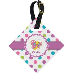 Polka Dot Butterfly Diamond Luggage Tag (Personalized)