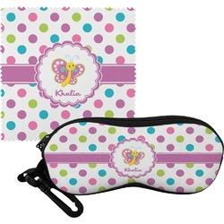 Polka Dot Butterfly Eyeglass Case & Cloth (Personalized)