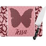 Polka Dot Butterfly Rectangular Glass Cutting Board (Personalized)