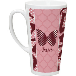 Polka Dot Butterfly 16 Oz Latte Mug (Personalized)
