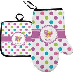 Polka Dot Butterfly Oven Mitt & Pot Holder (Personalized)