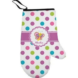 Polka Dot Butterfly Right Oven Mitt (Personalized)