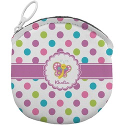Polka Dot Butterfly Round Coin Purse (Personalized)