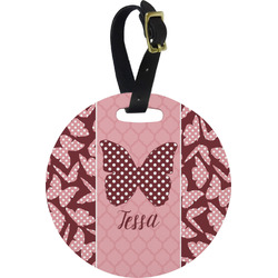 Polka Dot Butterfly Round Luggage Tag (Personalized)