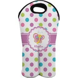 Polka Dot Butterfly Wine Tote Bag (2 Bottles) (Personalized)