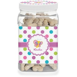 Polka Dot Butterfly Pet Treat Jar (Personalized)