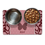 Polka Dot Butterfly Dog Food Mat (Personalized)
