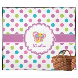 Polka Dot Butterfly Outdoor Picnic Blanket (Personalized)