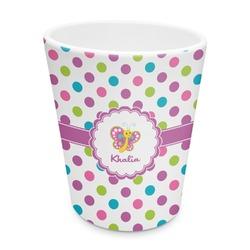Polka Dot Butterfly Plastic Tumbler 6oz (Personalized)