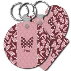 Polka Dot Butterfly Plastic Keychains (Personalized)