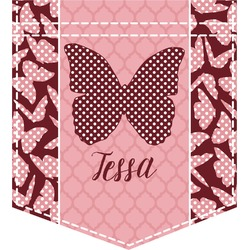 Polka Dot Butterfly Iron On Faux Pocket (Personalized)