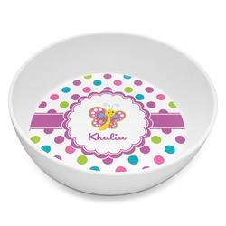 Polka Dot Butterfly Melamine Bowl 8oz (Personalized)