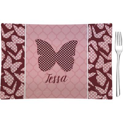 Polka Dot Butterfly Rectangular Glass Appetizer / Dessert Plate - Single or Set (Personalized)