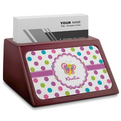 Polka Dot Butterfly Red Mahogany Business Card Holder (Personalized)