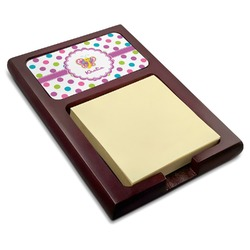 Polka Dot Butterfly Red Mahogany Sticky Note Holder (Personalized)