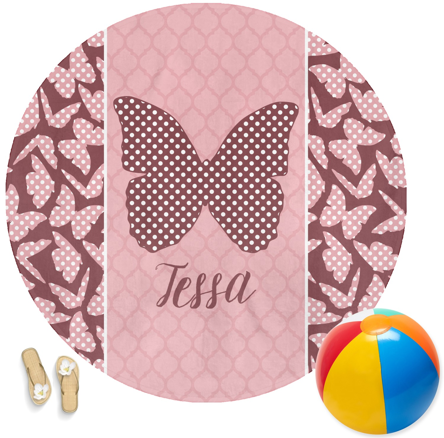 Polka Dot Butterfly Round Beach Towel (Personalized