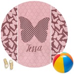 Polka Dot Butterfly Round Beach Towel (Personalized)