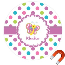 Polka Dot Butterfly Round Car Magnet (Personalized)