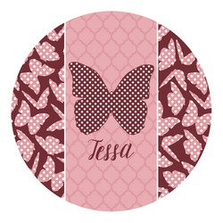 Polka Dot Butterfly Round Decal (Personalized)