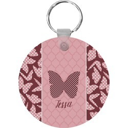 Polka Dot Butterfly Round Keychain (Personalized)