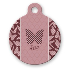 Polka Dot Butterfly Round Pet Tag (Personalized)