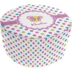 Polka Dot Butterfly Round Pouf Ottoman (Personalized)