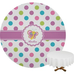 Polka Dot Butterfly Round Tablecloth (Personalized)