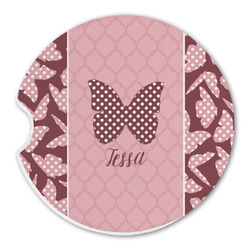 Polka Dot Butterfly Sandstone Car Coasters (Personalized)