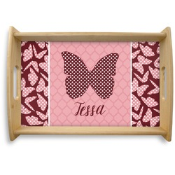 Polka Dot Butterfly Natural Wooden Tray - Small (Personalized)