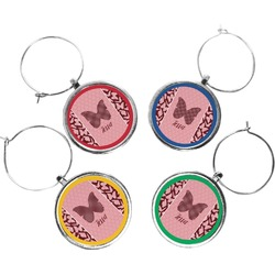 Polka Dot Butterfly Wine Charms (Set of 4) (Personalized)