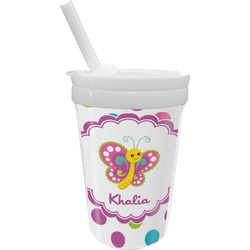 Polka Dot Butterfly Sippy Cup with Straw (Personalized)